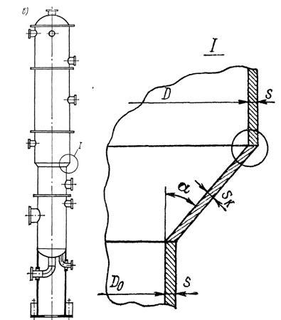 Для вертикального колонного аппарата, работающего под внутренним избыточным давлением, по данным